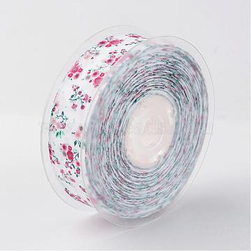 Flower Pattern Printed Grosgrain Ribbon, for Wrapping Ribbon Bow Making, White, 1 inches(25mm), about 100yards/roll(91.44m/roll)(SRIB-D058-01)