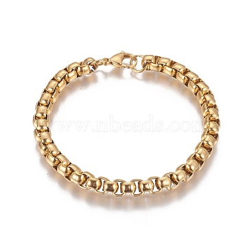 Vacuum Plating 304 Stainless Steel Box Chain Bracelets, with Lobster Claw Clasps, Golden, 8-1/2 inches~8-5/8 inches(21.7~22cm)(BJEW-I274-10G)