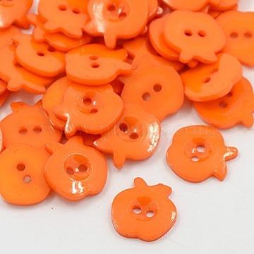 13mm OrangeRed Fruit Acrylic 2-Hole Button