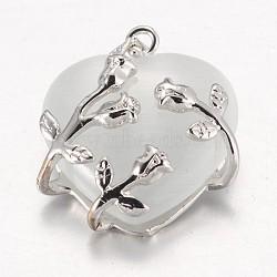 Valentine idée pour ses dons chat pendentifs oculaires, avec les accessoires en laiton, cœur, couleur platine, blanc, 25x21x9mm, Trou: 5x4mm(CE-H006-05)