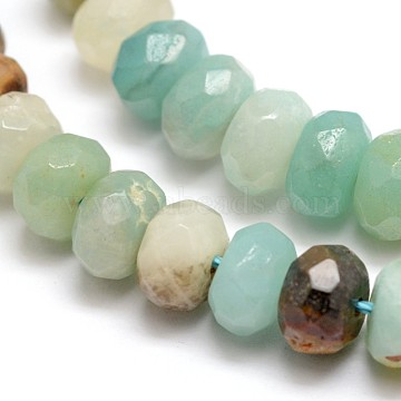 Faceted Natural Flower Amazonite Rondelle Beads Strands, 8x5mm, Hole: 1mm, about 64~76pcs/strand, 14.5 inches(X-G-K090-12)
