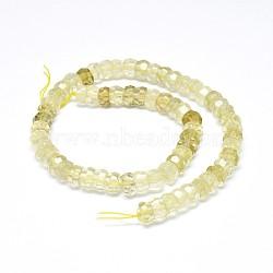Natural Lemon Quartz Beads Strands, Faceted, Rondelle, 10x6mm, Hole: 0.8mm; about 64~66pcs/strand, 15.7''(40cm)
