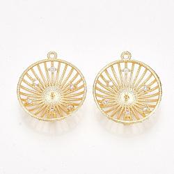 pendentifs en forme de zircon cubique en laiton, pour perle à moitié percée, plat rond, effacer, véritable plaqué or, 22~23x20x5 mm, trou: 1.2 mm; broches: 1 mm(KK-S350-333)