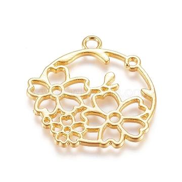 Zinc Alloy Open Back Bezel Pendants, For DIY UV Resin, Epoxy Resin, Pressed Flower Jewelry, Flower, Golden, 30.5x31x1.5mm, Hole: 2.8mm(X-PALLOY-E564-64G)