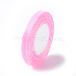 """Ruban d'organza, rose, 3/8"""" (10 mm); 50yards / roll (45.72m / roll), 10 rouleaux / groupe, 500yards / groupe (457.2m / groupe)(RS10mmY004)"""