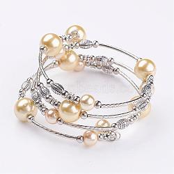 """Bracelets à perles en perles en verre, quatre boucles, Avec perles en laiton et entretoises en perles de fer, argent antique et le platine, lightkhaki, 2-1/8"""" (53 mm)(BJEW-JB02860-08)"""