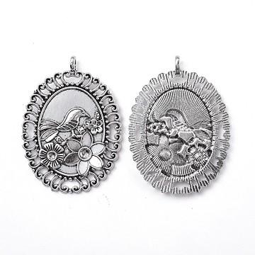Supports de pendentif d'émail en alliage de style tibétain, ovale avec fleur et oiseau, argent antique, 60x44x3mm, trou: 3.5 mm; s'adapter pour 4 mm et 5 mm de strass(TIBE-L011-053AS)