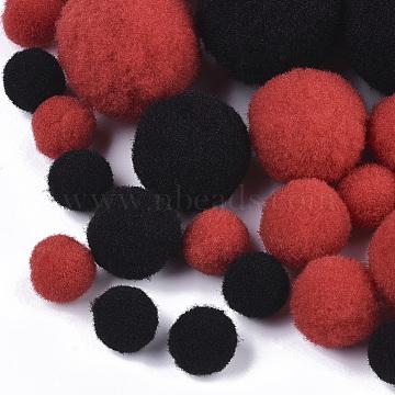 DIY Doll Craft Polyester High-elastic Pom Pom Ball, Round, Red & Black, 7~29mm(AJEW-R093-01-B01)