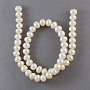 Natural Cultured Freshwater Pearl Beads Strands, Rondelle, White, 6~7mm, Hole: 0.5mm, about 78pcs/strand
