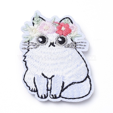 Computerized Embroidery Cloth Iron on/Sew on Patches, Costume Accessories, Appliques, Cat with Flower, Colorful, 49x40x2mm(X-DIY-E025-A11)