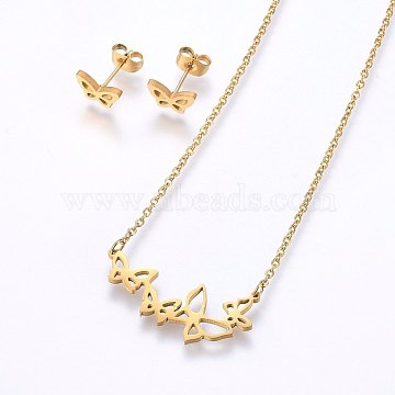 304 Stainless Steel Jewelry Sets, Stud Earrings and Pendant Necklaces, Butterfly, Golden, Necklace: 18.9 inches(48cm), Stud Earrings: 6x9x1.2mm, Pin: 0.8mm(SJEW-O090-14G)