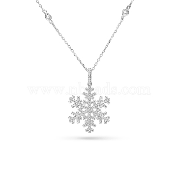 TINYSAND Christmas 925 Sterling Silver Cubic Zirconia Snowflake Pendant Necklace, Christmas, with Cable Chain, Silver, 19 inches(TS-N007-S-19)