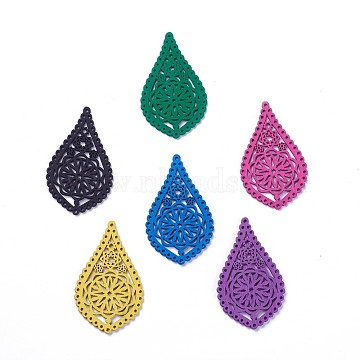 Wood Filigree Joiners Links, teardrop, with Flower, Dyed, Mixed Color, 55.5x32.5x1.5mm, Hole: 1.2~1.4mm(X-WOOD-P014-H)