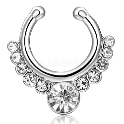 Personality Brass Cubic Zirconia Nose Studs Nose Piercing Jewelry, Platinum, Clear, 17x16mm(AJEW-EE0002-001P-01)