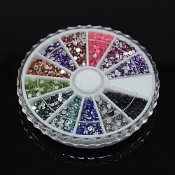 1 boîte de 12 couleurs demi-facettes imitation ronde strass acrylique taiwan, couleur mixte, 3x1 mm; environ 1400 pcs / boîte(GACR-X0001-3mm-B)