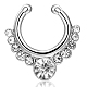 Personality Brass Cubic Zirconia Nose Studs Nose Piercing Jewelry(AJEW-EE0002-001P-01)-1