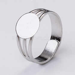 Adjustable Brass Ring Components, Pad Ring Findings, with Flat Round Cabochon Bezel Settings, Platinum, Tray: 10mm; 18mm(X-MAK-Q009-11P-10mm)