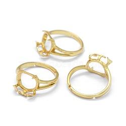 pièces d'anneau de doigt en argent sterling réglables 925, ovale, réel 18 k plaqué or, plateau: 10~11 mm; 17 mm(STER-E061-23G)