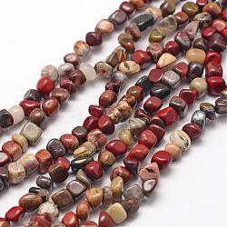 """Chapelets de perles de feuille d'argent en jaspe naturel, puce, 3~5x3~5x3~8mm, trou: 1mm; environ 85~90 pcs/chapelet, 15.7"""" (40 cm)(G-F465-45)"""