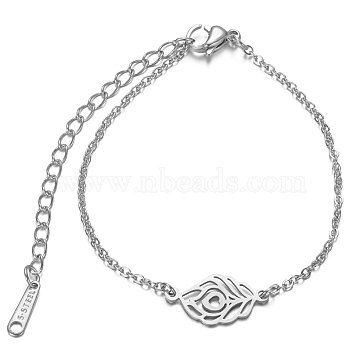 201 Stainless Steel Link Bracelets, with Cable Chains and Lobster Claw Clasps, Feather, Stainless Steel Color, 6-1/8 inches~6-7/8 inches(15.6~17.6cm); 1.5mm(STAS-T040-JN017-1)