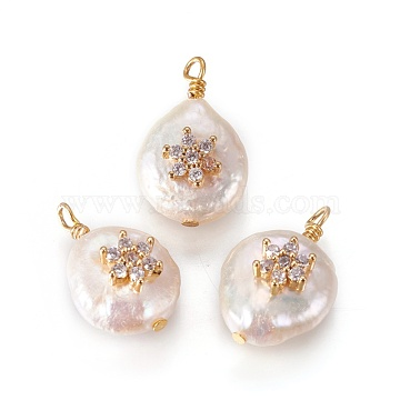 Natural Cultured Freshwater Pearl Pendants, with Cubic Zirconia and Brass Findings, Flat Round with Flower, Golden, Clear, 17~18x12~14mm, Hole: 1.6mm(PEAR-I005-10B)