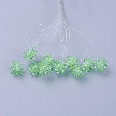 13mm LightGreen Flower Glass Beads