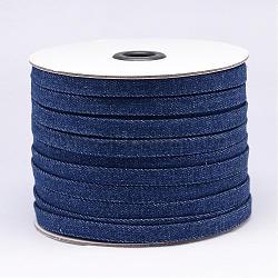 Cordon en coton denim, darkblue, 10x2 mm; environ 50 mètres / rouleau(NWIR-N011-03)