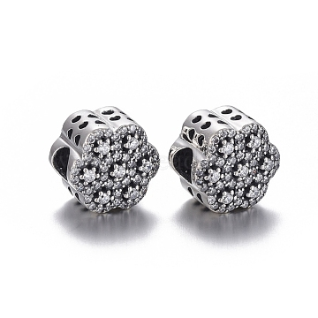 925 Sterling Silver European Beads, Large Hole Beads, with Cubic Zirconia, Carved with 925, Flower, Thai Sterling Silver Plated, 12x9.5mm, Hole: 4mm(OPDL-L017-016TAS)