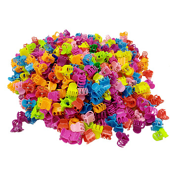 Kids Hair Accessories, Plastic Claw Hair Clips, Mixed Color, 15x13.5x18mm; about 100pcs/bag(OHAR-S197-046)