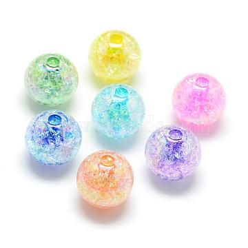 Crackle Style Acrylic Beads, AB Colour, Inside Color, Round, Mixed Color, 18mm, Hole: 4mm; about 150pcs/500g(MACR-S825-18mm)