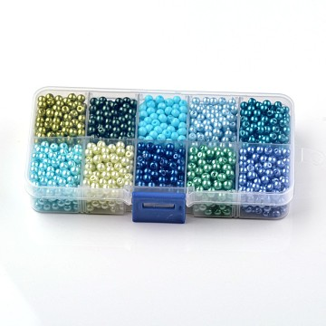 Mixed Pearlized Round Glass Pearl Beads, Mixed Color, 8mm, Hole: 1mm; about 200pcs/box(HY-D0004-8mm-B)