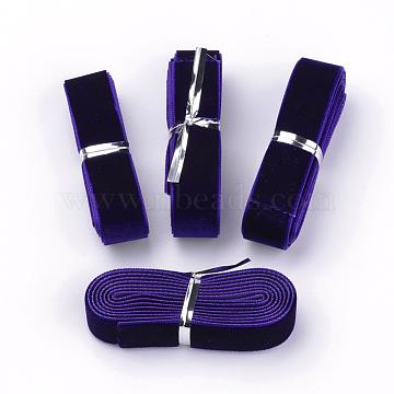 5/8 inch Single Face Velvet Ribbon, Indigo, 5/8 inch(16mm), about 1.094yards/bundle(1m/bundle)(X-OCOR-R069-16mm-090)