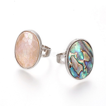 Adjustable Abalone Shell/Paua Shell/Pink Shell Rings, with 304 Stainless Steel Findings, Oval, Mixed Color, Size 8, 18mm(RJEW-O033-A)
