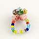 Lampwork Stretch Rings with Seed Beads(RJEW-R120)-3