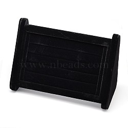 Cuboid Wood Jewelry Ring Display Stands, Covered with Velvet, with Sponge, Black, 22.5x10x14cm(RDIS-L001-14D)