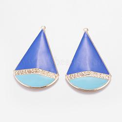 Pendentifs d'émail en fer plaqué or clair,  grands pendentifs déposés, bleu ciel, 62x36x2mm, Trou: 2mm(IFIN-J069-05KCG-A)