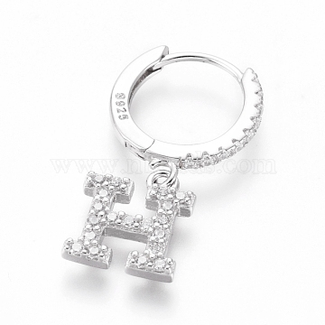 925 Sterling Silver Hoop Earrings, Dangle Earrings, with Cubic Zirconia, Carved with S925, Letter, Clear, Platinum, Letter.H, 20mm; Pendants: about 8.8x7.8x1.5mm; Pin: 0.6mm(EJEW-D251-H-P)