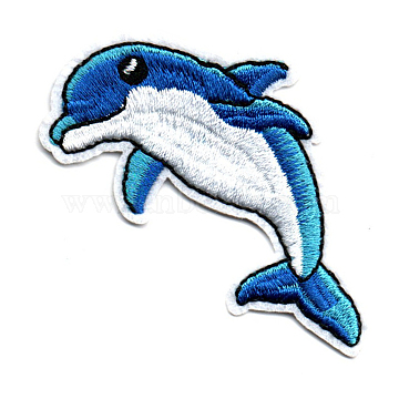 Computerized Embroidery Cloth Iron on/Sew on Patches, Costume Accessories, Appliques, Dolphin, Marine Blue, 70x35mm(DIY-K012-02-S705)