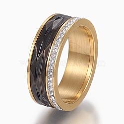 Bagues en 304 acier inoxydable, anneaux large bande, avec argile polymère strass, cristal, taille 6~9, gris anthracite & Golden, 16~19mm(RJEW-E155-02G)