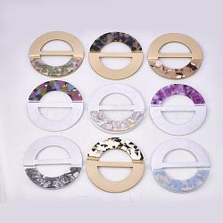 Boucles en aluminium et acétate de cellulose (résine), plat rond, couleur mixte, 70~70.5x4.5~5mm, Trou: 43x19mm(ALUM-S016-14)