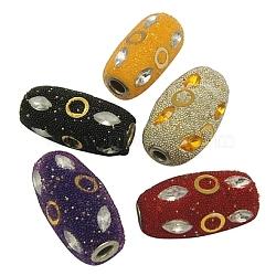 Perles Indonésiennes manuelles, avec ame en laiton, Tube, couleur mixte, taille:  Largeur environ 17mm, Longueur 32mm, Trou: 4.5mm(X-CLAY-G073)