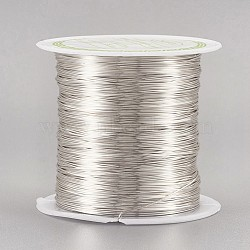 fil de cuivre fil de perles de cuivre, plaqué longue durée, plaqué argent, Jauge 26, 0.4 mm; 38 m / rouleau(CWIR-F001-S-0.4mm)