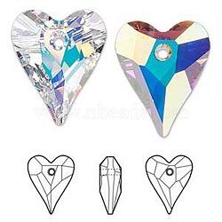 Cristal autrichien, 6240 pendentifs coeurs sauvages pour bricolage faits main découvertes, fabrication de bijoux de fête des mères, 001 ab_crystal Aurore Boréale, environ 14 mm de large, 17 mm de long.(X-SWAR-6240-17MM-001AB)