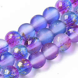 Frosted Spray Painted Glass Beads Strands, with Golden Foil, Round, Blue Violet, 6~7mm, Hole: 1.2~1.5mm, about 65~67pcs/Strand, 14.76 inches~15.12 inches(37.5~38.4cm)(X-GLAA-N035-03B-C03)