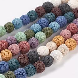 """Chapelets de perles rondes en lave naturelle, teint, couleur mixte, 10mm, trou: environ 2.5~3 mm; environ 40 perle / Chapelet, 15""""(G588)"""