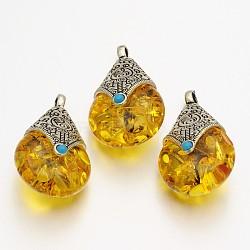 Déposer pendentifs de style tibétain, accessoires en alliage avec la cire d'abeille, argent antique, verge d'or, 38x22.5x17.5mm, Trou: 4mm(TIBEP-N007-01)