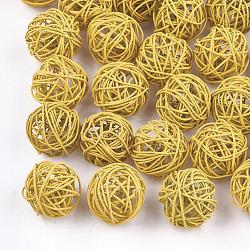 Perles de fil de fer environnementales peintes par pulvérisation, rond, lightkhaki, 15~17mm(IFIN-T009-10E)