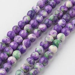 "Chapelets de perle en jade blanc naturel, rond, teint, mediumorchid, 6mm, trou: 1mm; environ 73 pcs/chapelet, 15.9"" (405 mm).(G-G916-6mm-11)"