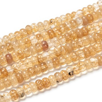 Coffee Watermelon Stone Glass Beads Strands, Rondelle, Pale Goldenrod, 8x5mm, Hole: 0.8mm, about 74pcs/strand, 15 inches(G-G586-057)