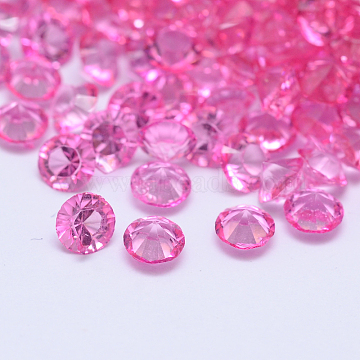 Diamond Faceted Resin Cabochons, HotPink, 3x2mm; about 1440pcs/10g(X-CRES-M006-12D)